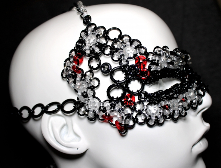 Fantasy Glass Face Mask- glass chainmaille- black, crystal clear, red