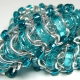 Glass Caterpillar Bracelet- Chainmaille with glass- Aluminum/Aqua/Teal