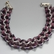 Racing Stripe Bracelet- Chainmaille with glass- Aluminum/Amethyst/Purple