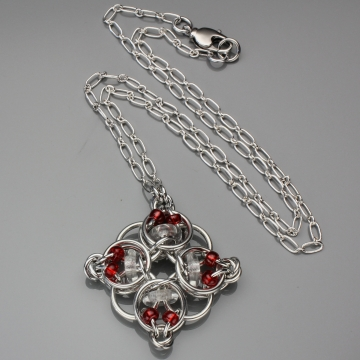 Celtic Diamond Pendant- Chainmaille with glass- Aluminum/Crystal Clear/Red