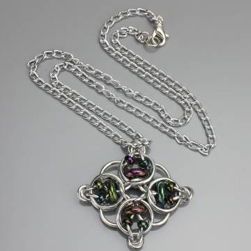 Celtic Diamond Pendant- Chainmaille with glass- Aluminum/Green Iris Red