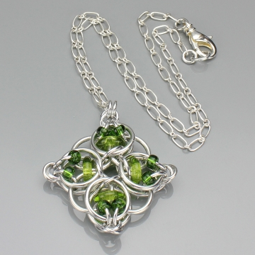 Celtic Diamond Pendant- Chainmaille with glass- Aluminum/Lime/Olive