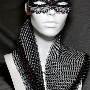 Illusive Heroine- Glass Chainmaille- Mask & Capelet ensemble