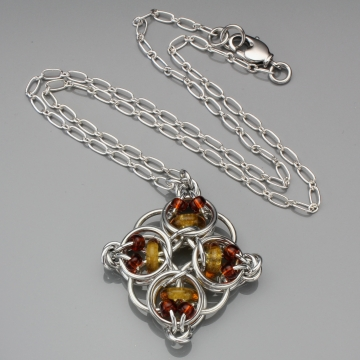 Celtic Diamond Pendant- Chainmaille with glass- Aluminum/Honey/Amber