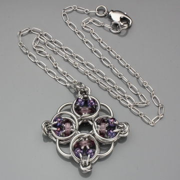 Celtic Diamond Pendant- Chainmaille with glass- Aluminum/Lilac/Iridescent Purple