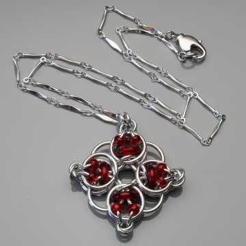 Celtic Diamond Pendant- Chainmaille with glass- Aluminum/Cherry Red