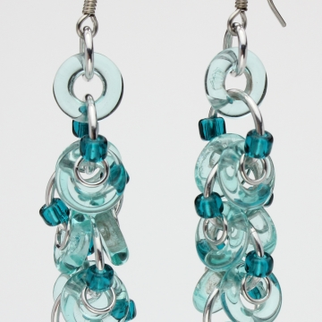 Decadent Confection Earrings- Chainmaille with glass- Aluminum/Aqua/Teal