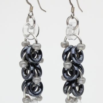 Decadent Confection Earrings- Chainmaille with glass- Aluminum/Hematite/Clear