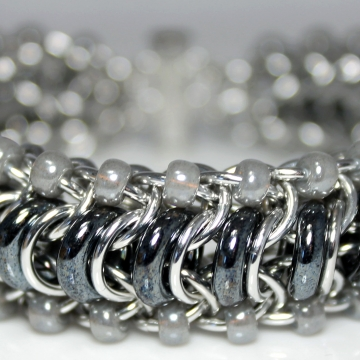 Glass Caterpillar Bracelet- Chainmaille with glass- Aluminum/Hematite/Pearl Grey