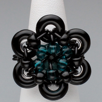 Glistening Bloom Ring- Chainmaille with glass- Black/Teal