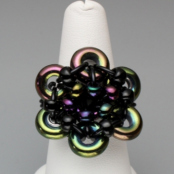 Glistening Bloom Ring- Chainmaille with glass- Black/Green Iris
