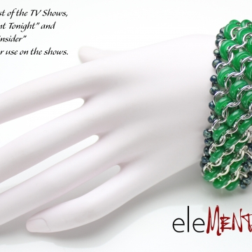 Inclined to Shine- Chainmaille Bracelet- Aluminum/Chrysoprase- 3 row