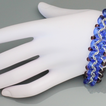 Racing Stripe Bracelet- Chainmaille with glass- Aluminum/Light Cobalt/Purple