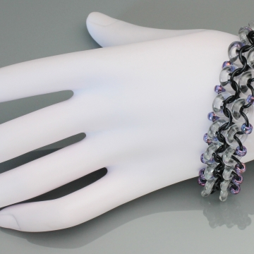 Racing Stripe Bracelet- Chainmaille with glass- Black/Clear/Iridescent Purple